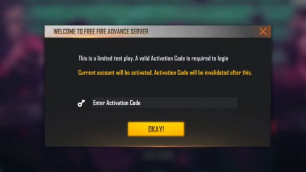 free fire advance server activation code