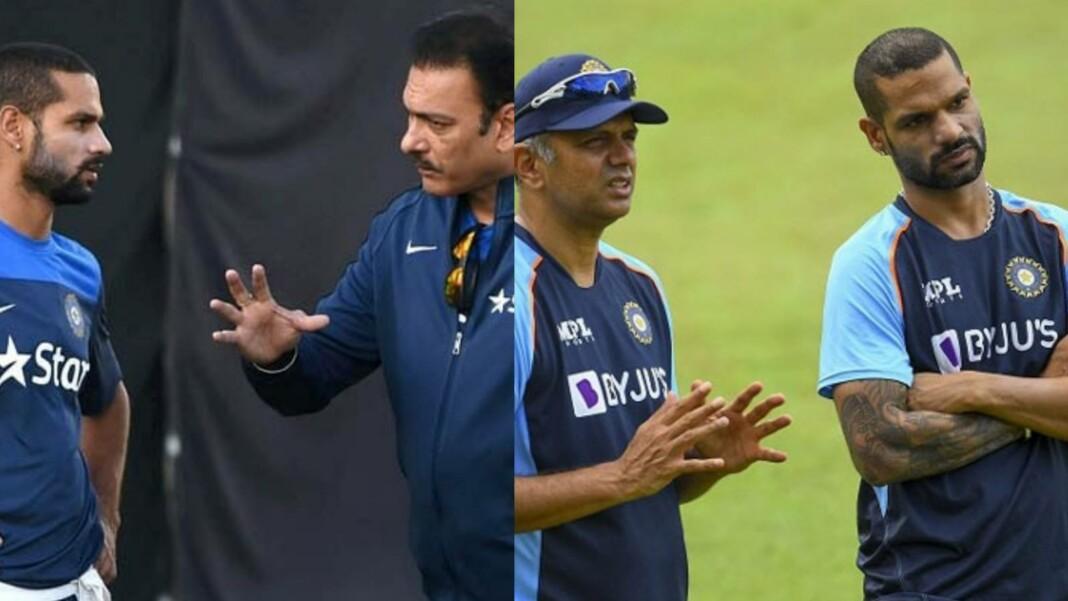 Shikhar Dhawan, Ravi Shastri and Rahul Dravid