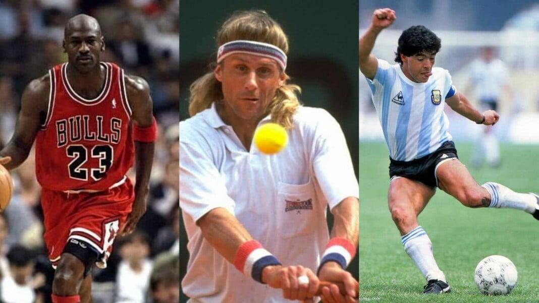 Michael Jordan, Bjorn Borg and Diego Maradona