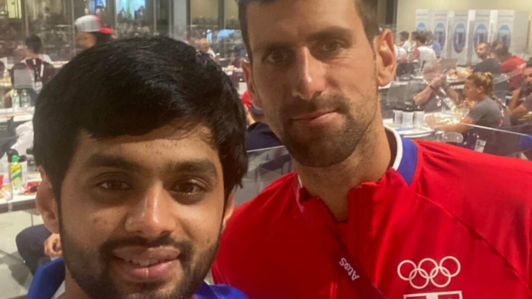 Sai Praneeth with Novak Djokovic