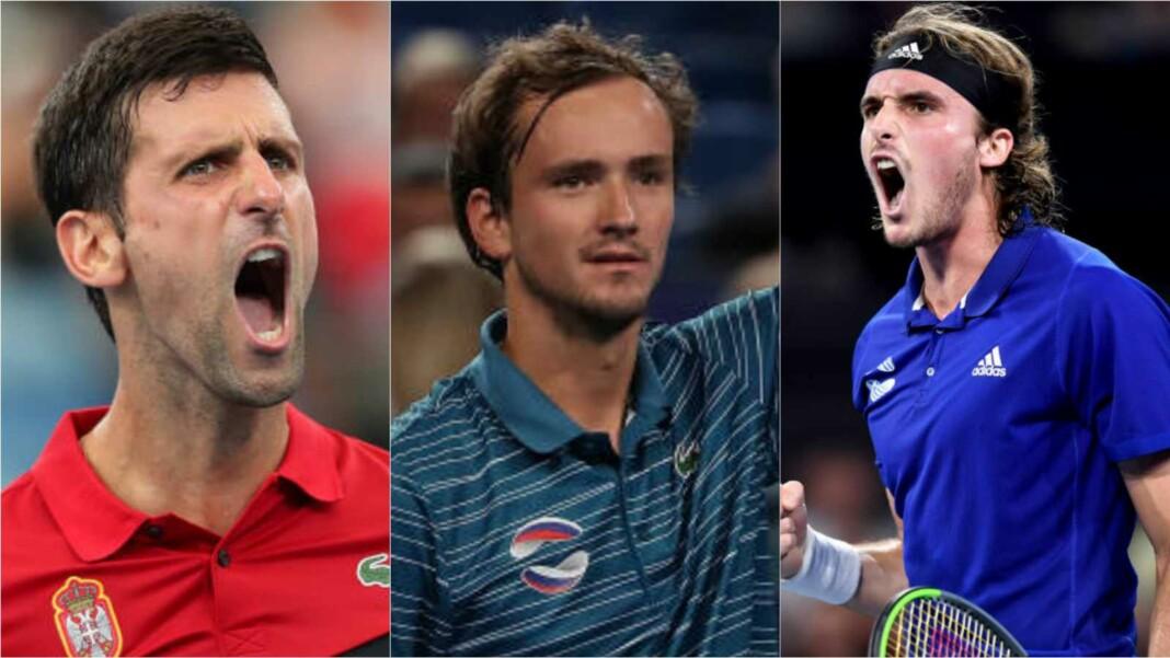 Novak Djokovic, Daniil Medvedev and Stefanos Tsitsipas