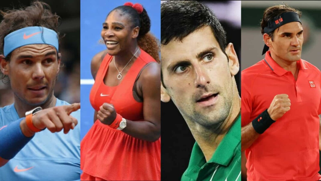 Rafael Nadal, Serena Williams, Novak Novak Djokovic and Roger Federer