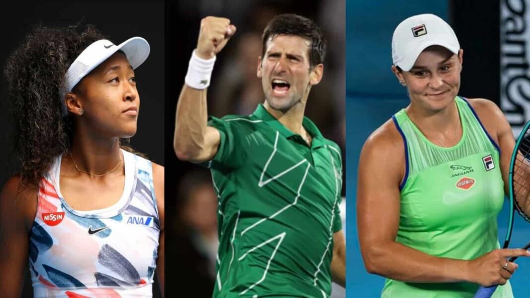 Naomi Osaka, Novak Djokovic and Ashleigh Barty