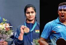 Saurabh Chaudhary, Manu Bkaker and Achanta Sharath Kamal