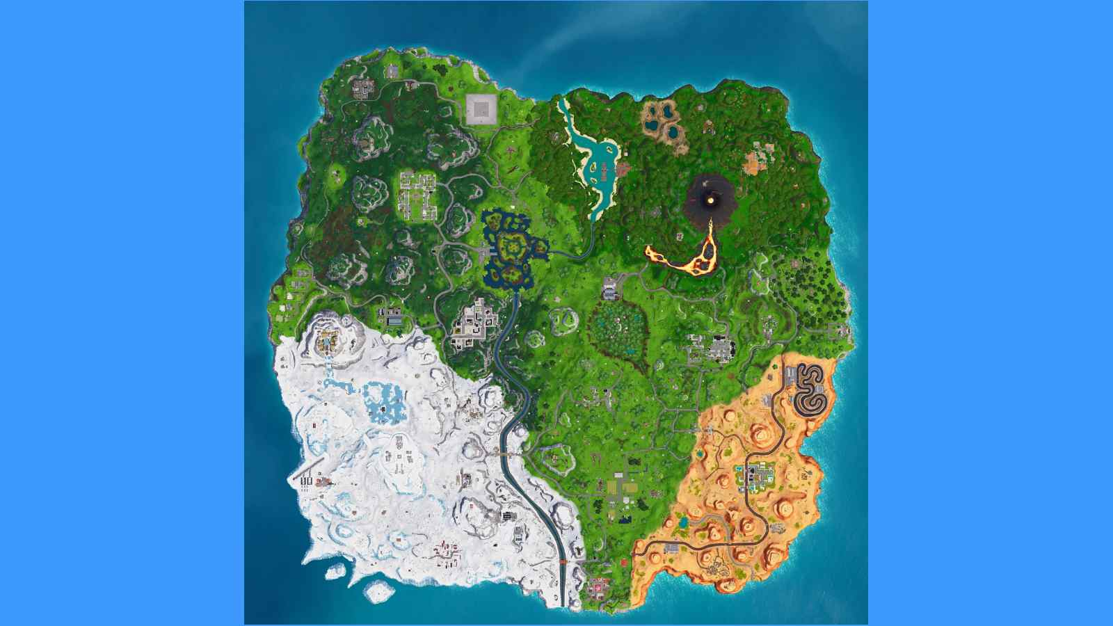 Fortnite Map Changes after 17.21 update: Center POI changes, and more