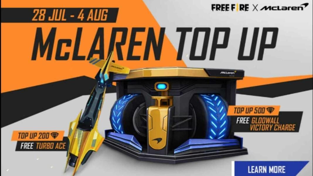 free fire mclaren top up event