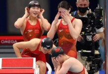 China in disbelief as they break the 4x200m freestyle relay world record; swimming at Tokyo Olympics