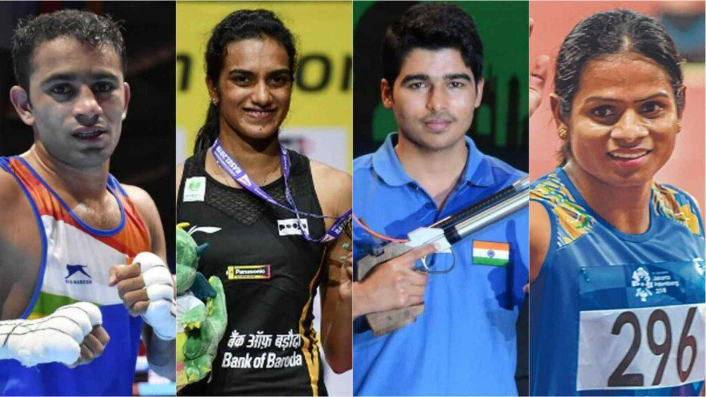 Amit Panghal, PV Sindhu, Saurabh Chaudhary and Dutee Chand