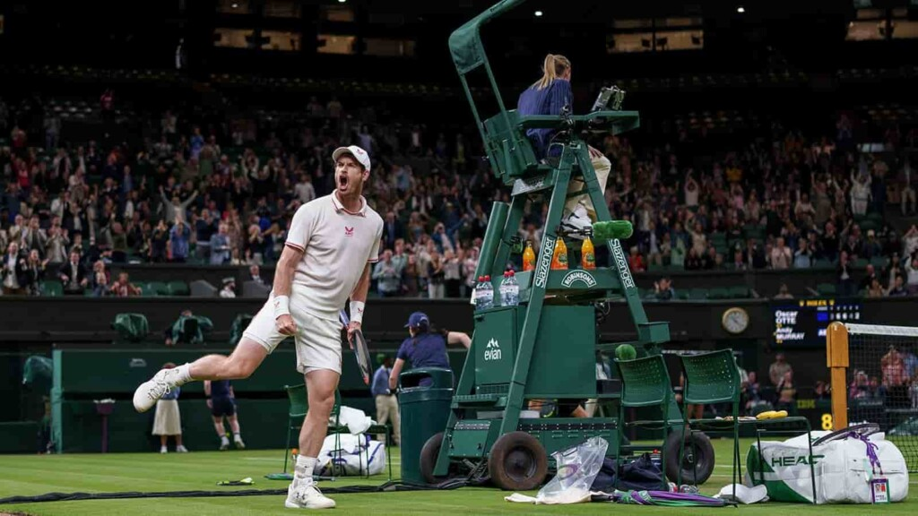 An ecstatic Andy Murray celebrates with the crowd at Centre Court after his 2nd round win at the Wimbledon 2021