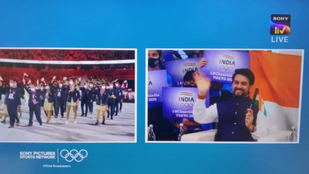 Anurag Thakur during Tokyo Olympics opening cermony