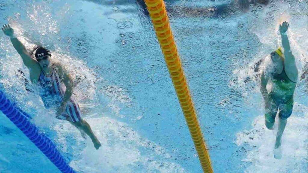Ariarne Titmus and Katie Ledecky in action