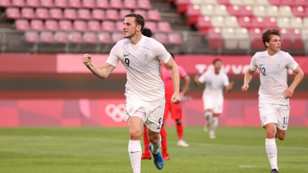 Chris Wood celebrates New Zealands goal - FirstSportz