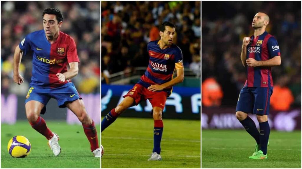 Pep Guardiola, Xavi, Busquets and Mascherano