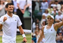 Novak Djokovic and Ash Barty