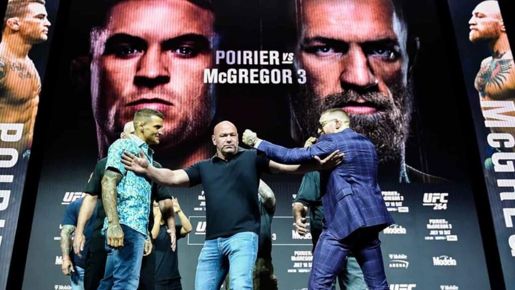 Conor McGregor and Dustin Poirier at UFC 264