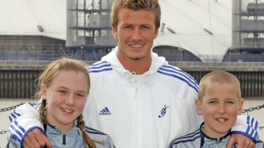 David Beckham with Harry Kane and Katie Goodland in 2005