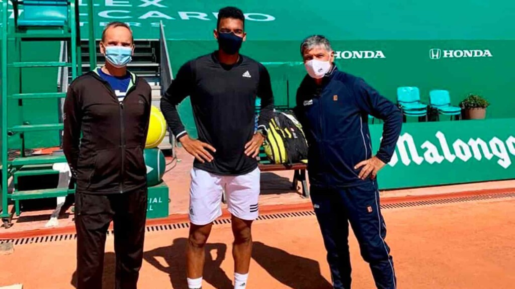Felix Auger-Aliassime's coach Toni Nadal and Frederick Fontang