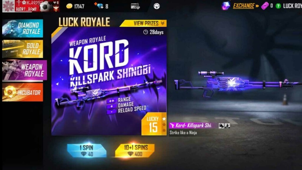 Free Fire Kord Killspark Shinobi