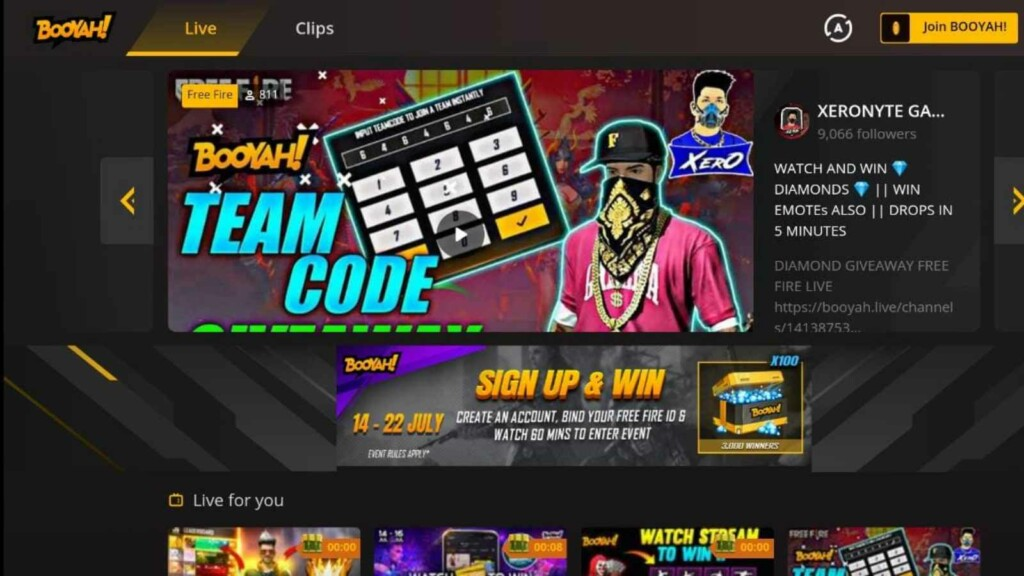 Free Fire Sign up and Win on BOOYAH