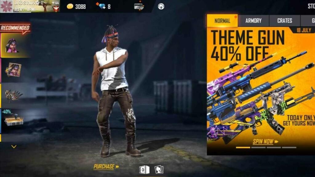 Free Fire Theme Gun