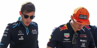 George Russell and Max Verstappen