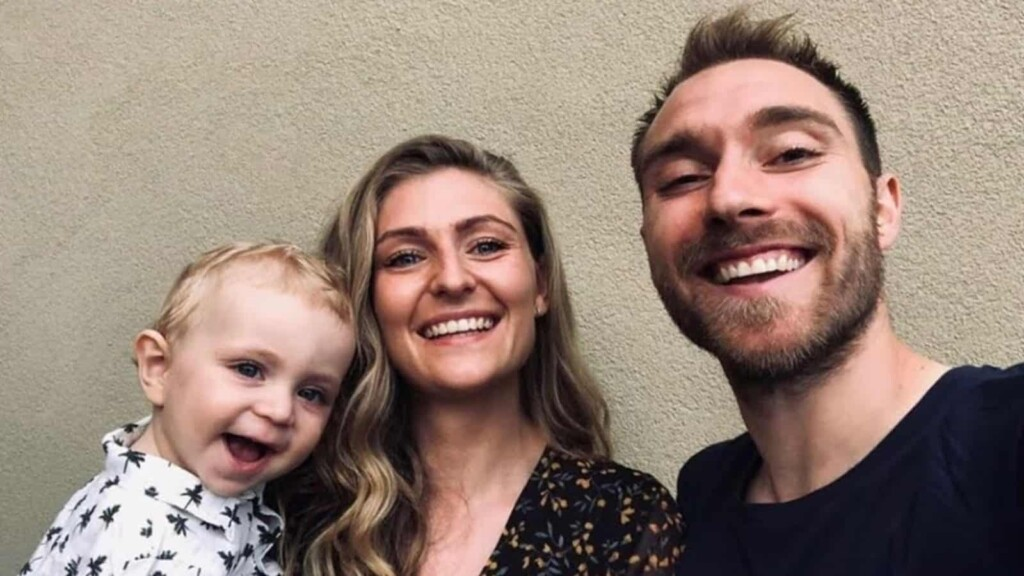 Christian Eriksen and his partner with their son Alfie.