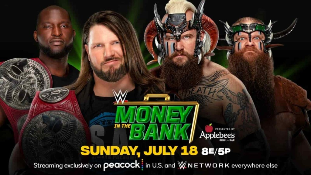AJ Styles and Omos def the Viking Raiders at Money in the Bank
