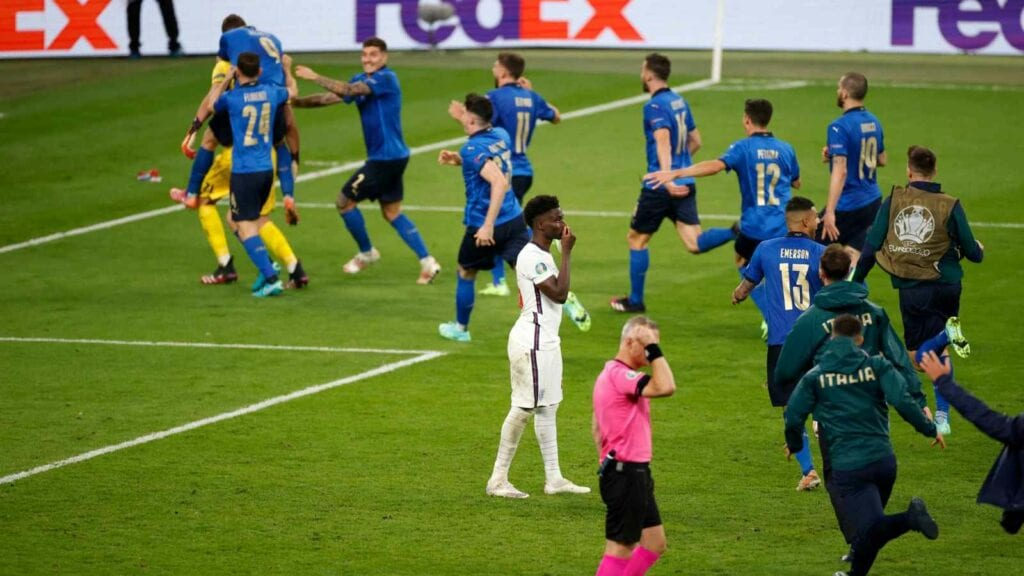Italy celebrate their victory