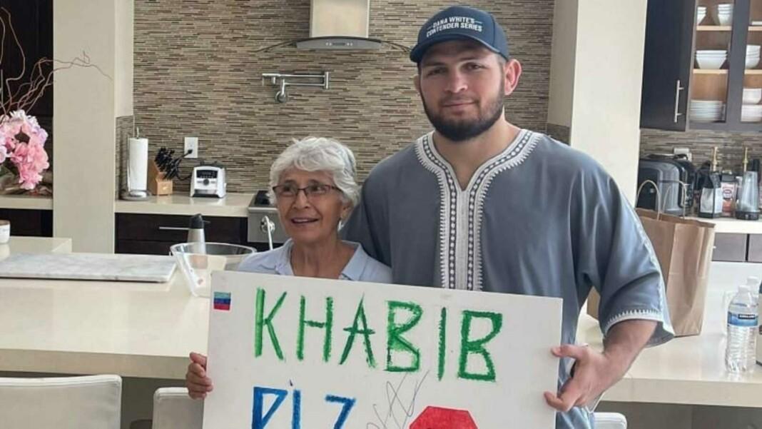 Khabib Nurmagomedov and old lady fan