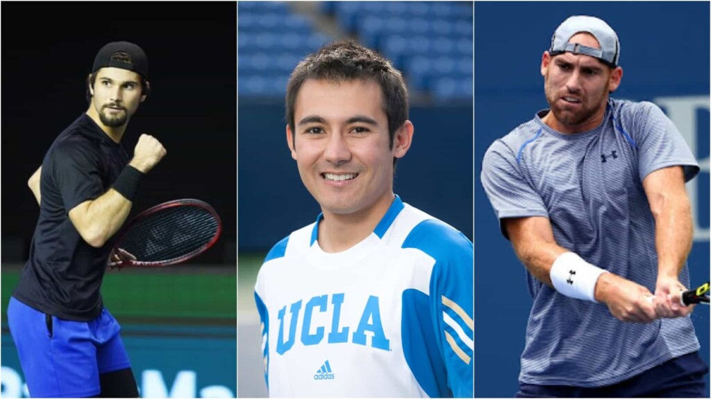 Marcos Giron with coach Evan Lee and Robby Ginepri