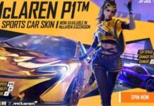 McLaren P1 car skin in Free Fire