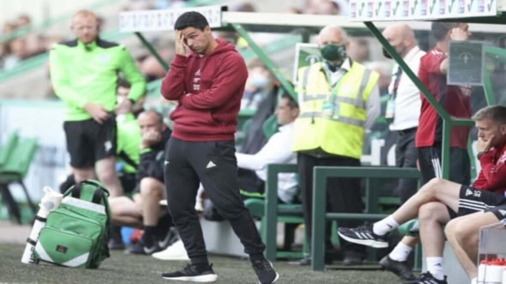 Mikel Arteta looks on as Arsenal stumble to a 2-1 defeat