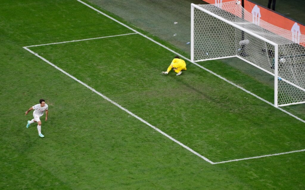 Mikel Oyarzabal scores from the final spot kick