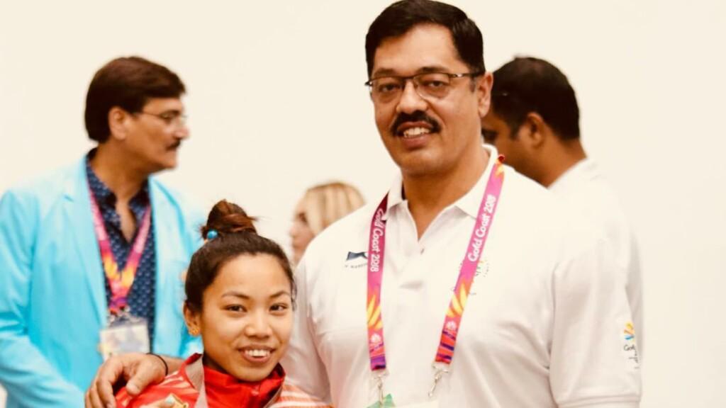 Mirabai Chanu with coach Vijay Sharma