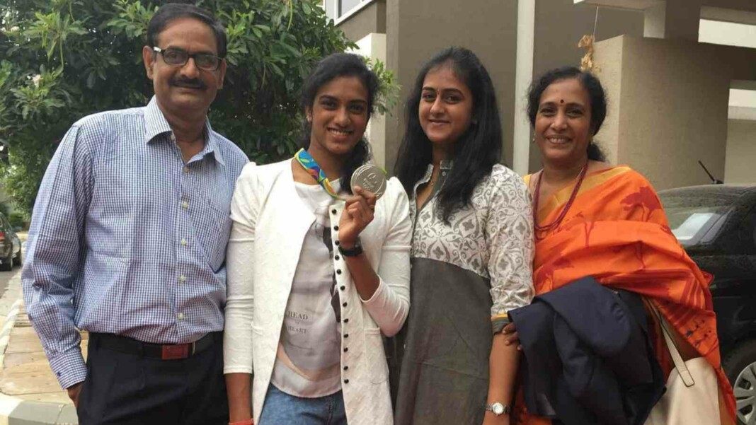 PV Sindhu with her parents