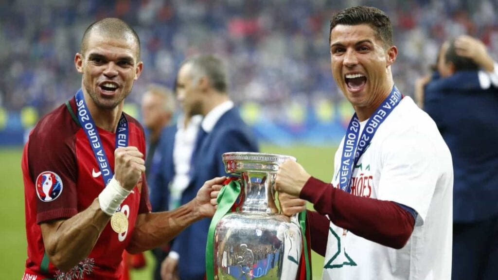 Pepe ad Cristiano with the Euro Cup in 2016