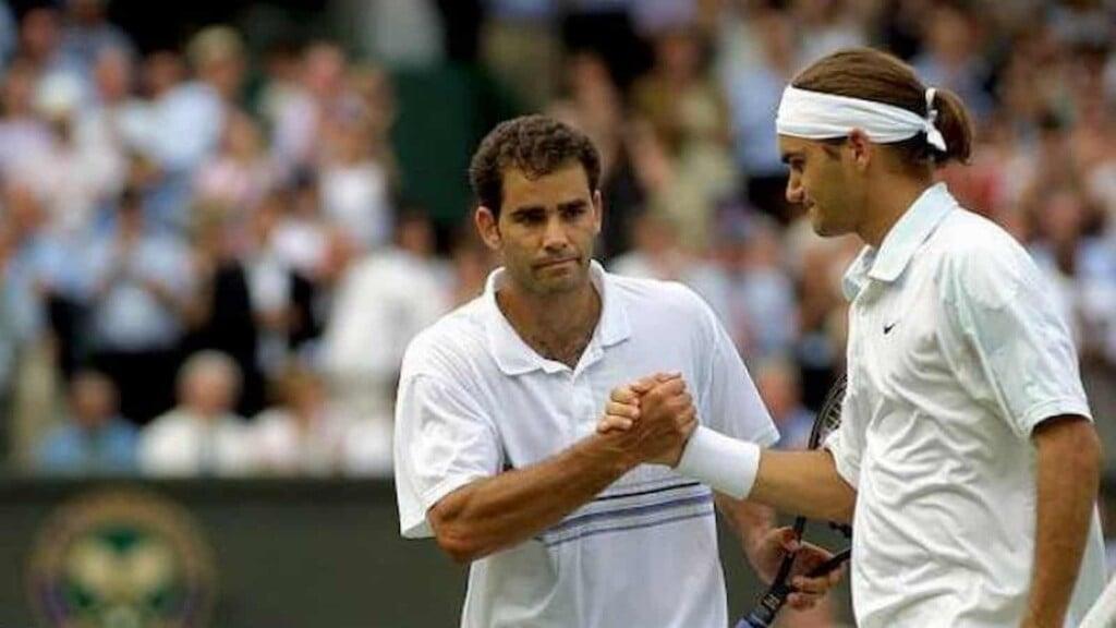 Pete Sampras and Roger Federer from their 2001 Wimbledon meeting