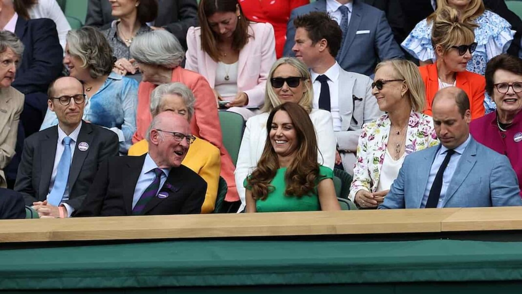 Prince William and Duchess of Cambridge at the Royal Box of Wimbledon 2021 in Women's Singles Finals.