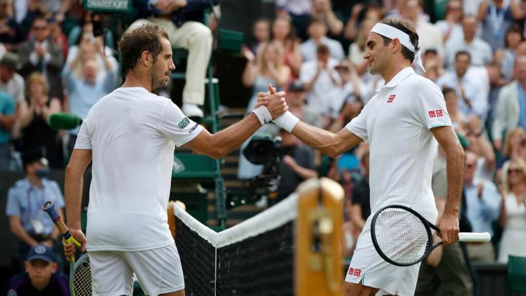 Richard Gasquet and Roger Federer at Wimbledon 2021