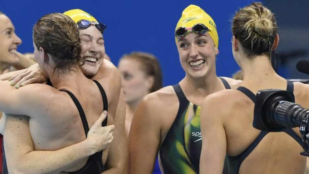 Swimming at Tokyo Olympics, 4x100m freestyle relay record Australia