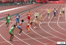 USA(lane 2) in 4x400 meters mixed team relay