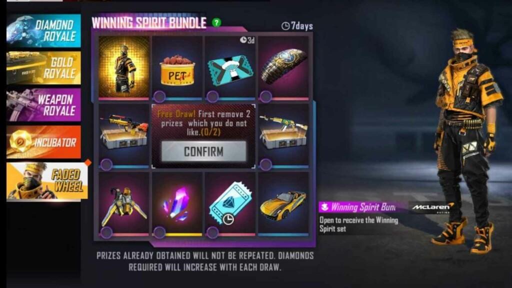 Winning Spirit Bundle in Free Fire