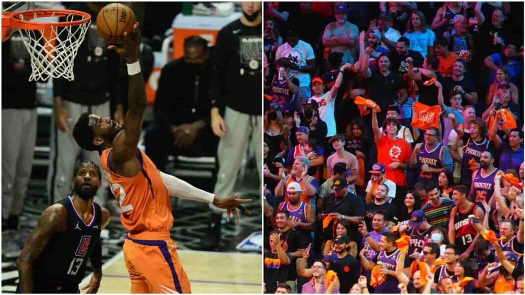 Phoenix Suns' fans flip off Milwaukee Bucks team