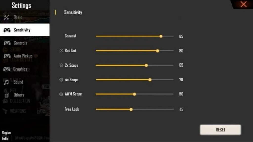 best sensitivity settings in free fire for snipers