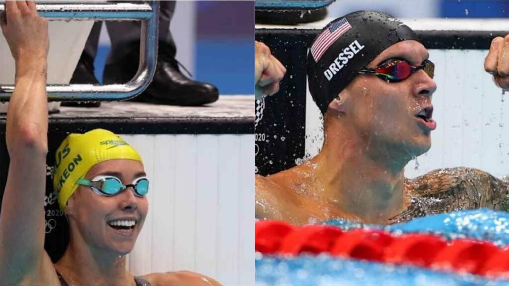 50m freestyle finals; Emma McKeon, Caeleb Dressel celebrate