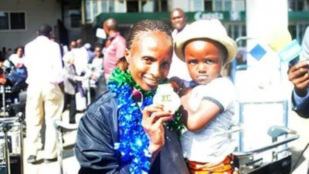 Hellen Obiri with daughter, Tania