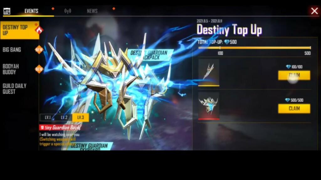 free fire destiny top up event