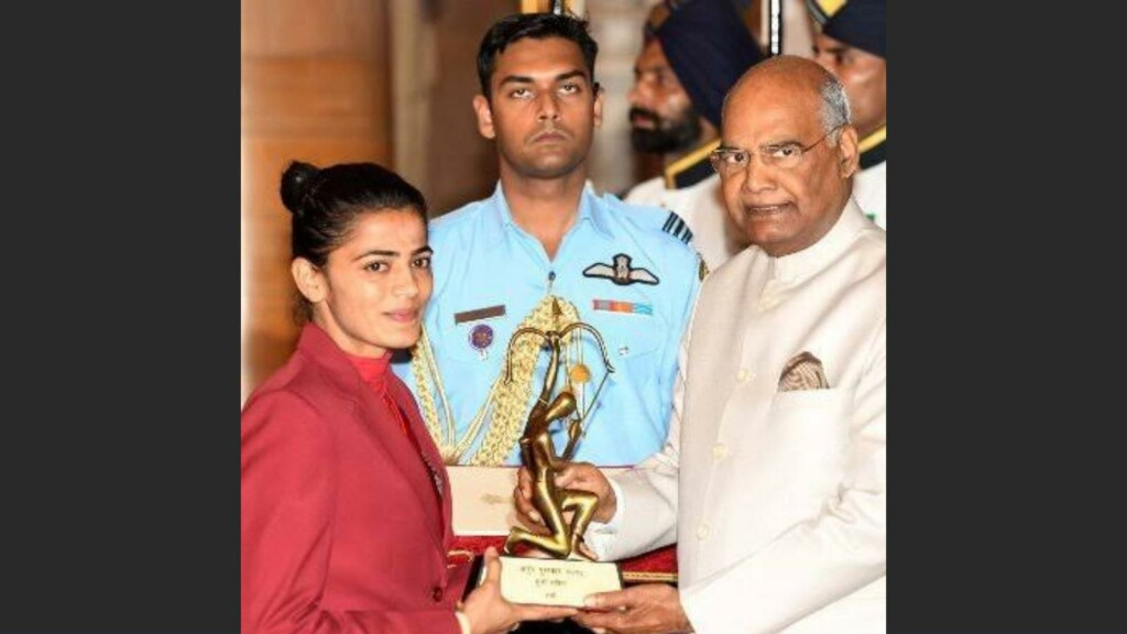 Savita Punia with President of India Shri Ram Nath Kovind