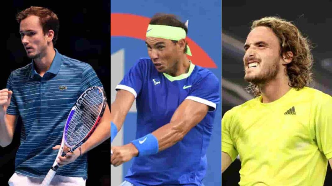 Daniil Medvedev, Rafael Nadal and Stefanos Tsitsipas