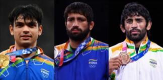 Neeraj Chopra, Ravi Kumar Dahiya and Bajrang Punia